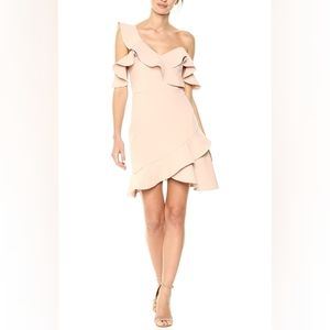 BCBGMAXAZARIA Bare Pink Asymmetrical Ruffle Dress